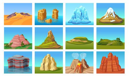 Cartoon mountain landscapes set with desert hills green peaks stones rocks in water ice mounts volcanoes isolated vector illustration Ilustración de vector