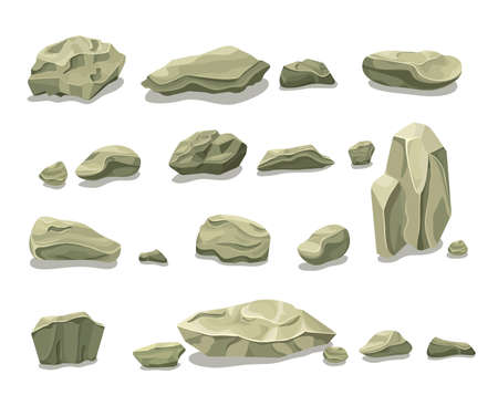 Cartoon colorful gray stones set with boulders rubbles and rocks for pile creation isolated vector illustration