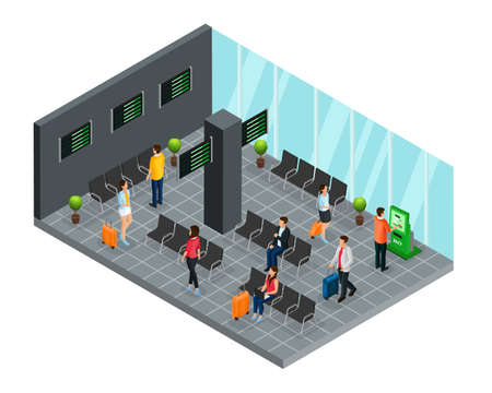 Isometric airport departure lounge concept with passengers waiting for flight boarding vector illustration Vektorové ilustrace