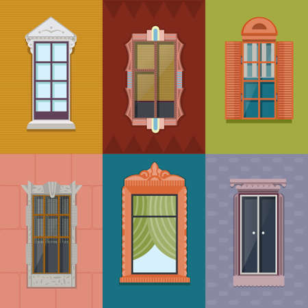Colorful windows flat collection of different shapes and construction for building exterior on wall background vector illustration Vetores
