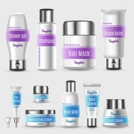 Realistic professional cosmetic packaging set with tubes bottles and containers for skin treatment products isolated vector illustration 벡터 (일러스트)