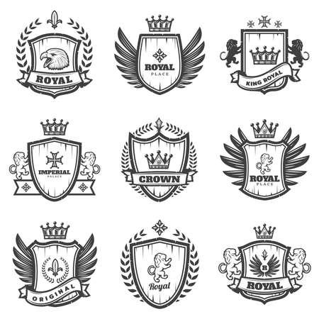 Vintage monochrome heraldic emblems set with ornate coats of arms and medieval blazons isolated vector illustration Vektoros illusztráció