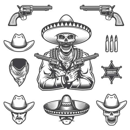 Set of sheriff and bandit elements and heads. Monochrome style
