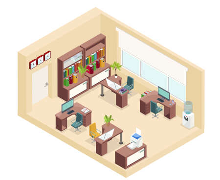 Isometric office workplace concept with tables chairs bookshelf computers printer clocks plants water cooler isolated vector illustration