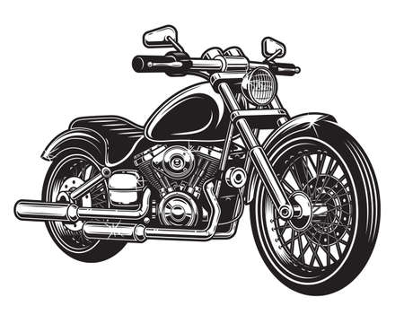 Vector illustration of motorcycle isolated on white background. Monochrome style.