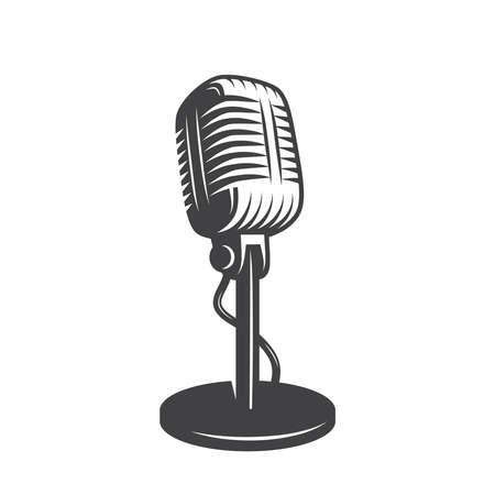 Vector illustration of isolated retro, vintage microphone. Ilustración de vector