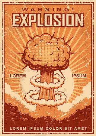 Vintage explosion poster on a grunge background. Ilustración de vector
