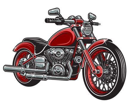 Vector illustration of red color motorcycle isolated on white background.