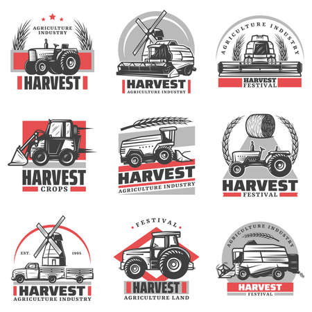 Vintage harvesting emblems set with inscriptions tractors combine harvester loader truck hay bale wheat ears windmill isolated vector illustration Vector Illustratie