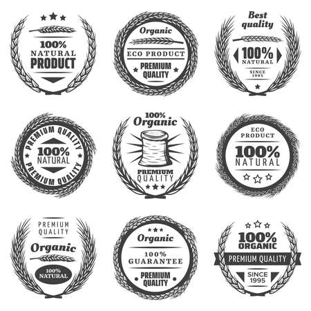 Vintage premium cereal products labels set with letterings wheat ears natural wreathes in monochrome style isolated vector illustration
