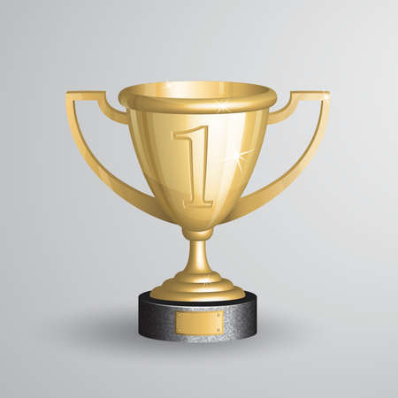 Realistic vector illustration of golden championship trophy, cup