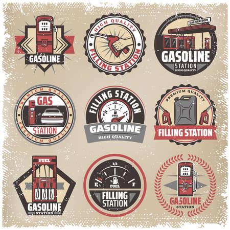 Vintage colored filling station labels set with gasoline pumps canister fuel gauge car refilling petrol nozzle isolated vector illustration