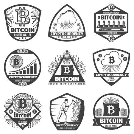 Vintage monochrome crypto currency labels set with bitcoin sign network server computer hardware graphs mining process coins isolated vector illustration