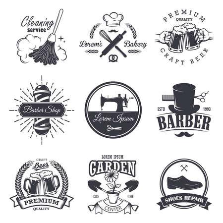 set of vintage workshop emblems, labels, badges, and logos, Monochrome style