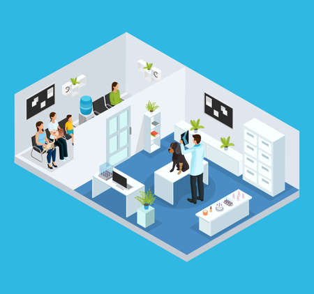 Isometric veterinary clinic concept with queue of people with their pets and veterinarian examining dog in cabinet isolated vector illustration