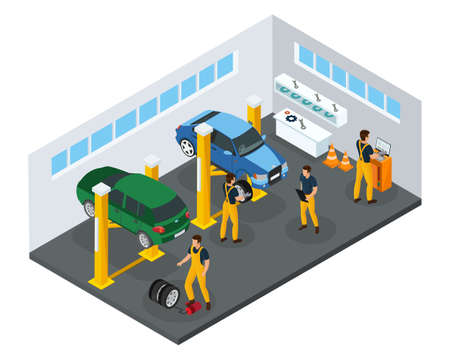 Isometric car repair service template with professional workers in uniform changing tires in garage isolated vector illustration