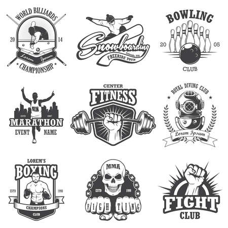 Set of vintage sports emblems, labels, badges and logos. Monochrome style