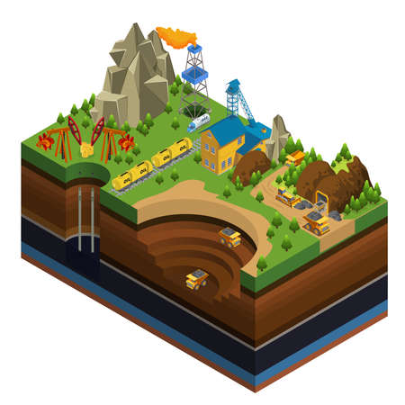Isometric oil and mining industry concept with derricks gas rig rail gasoline tankers dump trucks working in quarry vector illustration