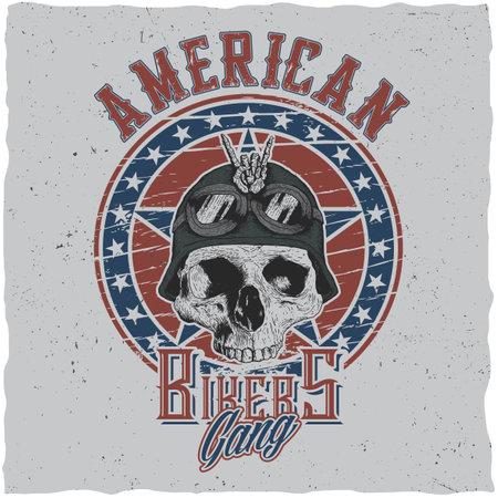American bikers gang poster design with skull in motorcycle helmet or bandanna vector illustration