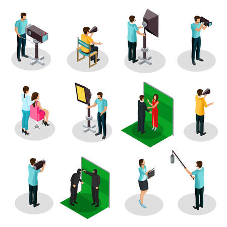 Isometric movie crew shooting collection with producer film director actors cinematographer camera operator production designer makeup artist isolated vector illustration