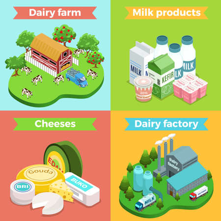 Isometric dairy factory square concept with farm plant milk cheese yogurt kefir sour cream products isolated vector illustration