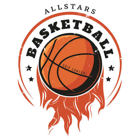 Colored vintage basketball logotype template with inscription and flaming ball in hand drawn style isolated vector illustration