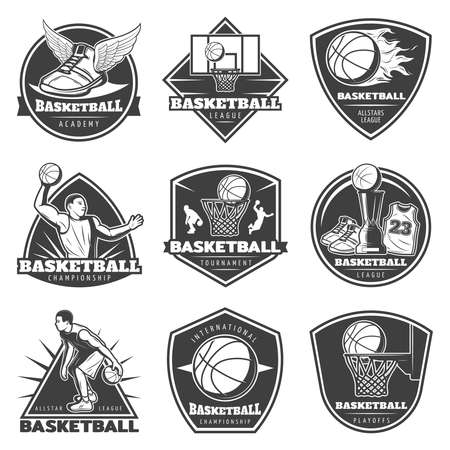 Monochrome vintage basketball labels set with players game equipment cup sneakers and shirt isolated vector illustration Vecteurs