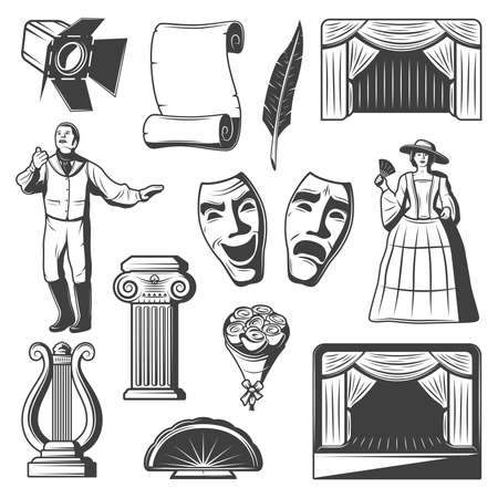 Vintage theatre elements collection with actors masquerade masks harp column scroll feather flowers fan stage isolated vector illustration