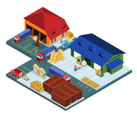 Isometric warehouse area concept with workers and transport involved in logistic shipping loading delivery processes isolated vector illustration