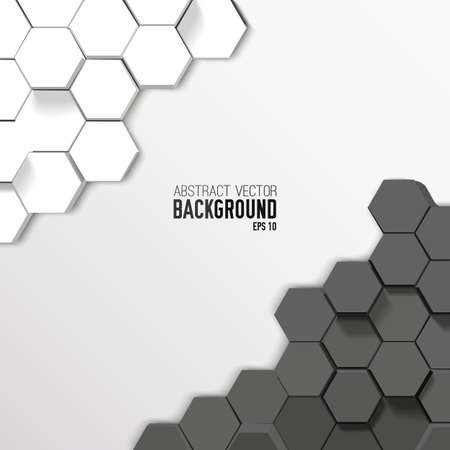 Geometric abstract hexagonal poster in gray white colors and mosaic style vector illustration