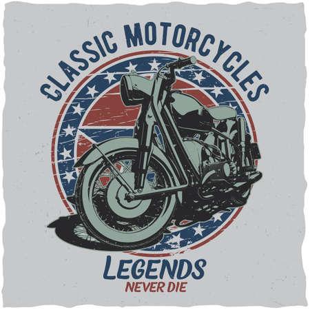 Motorcycle t-shirt label design with illustration of classic motorcycle Vektoros illusztráció