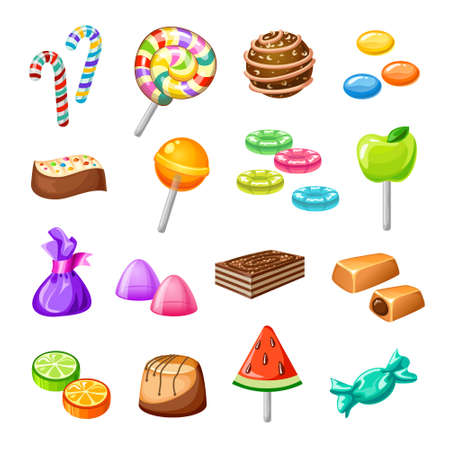 Isolated color candy icon set with sweets baking candy lollipops on white background vector illustration