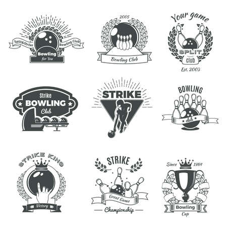 Bowling monochrome vintage style emblems of clubs and championship with balls skittles laurel wreaths isolated vector illustration