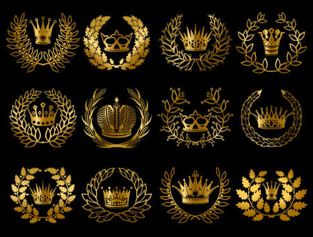 Beautiful gold wreathes set with wheat ears oak laurel olive branches and royal crowns isolated vector illustration Vecteurs