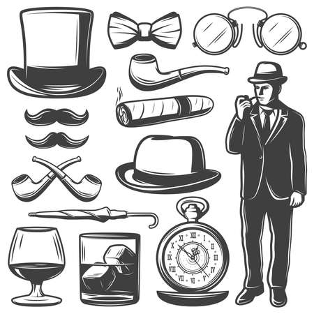 Vintage gentleman elements set with man bowler hat bow tie mustache umbrella clocks drinks glasses smoking pipe cigar isolated vector illustration Vettoriali