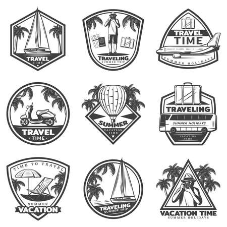 Vintage summer vacation labels set with yacht airplane bus air balloon traveler tropical beach elements baggage isolated vector illustration Vektorgrafik