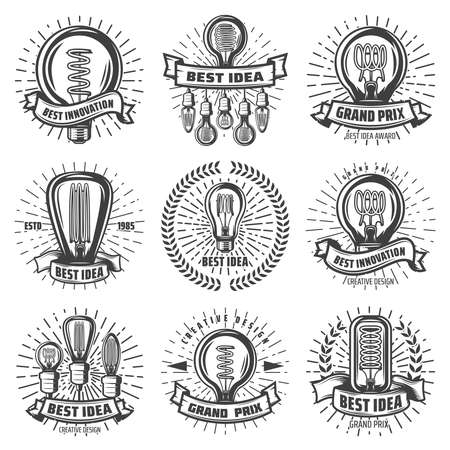 Vintage energy efficient lightbulbs labels set with inscriptions different light bulbs