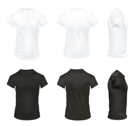 Black and white realistic t shirt icon set for men and with realistic folds vector illustration