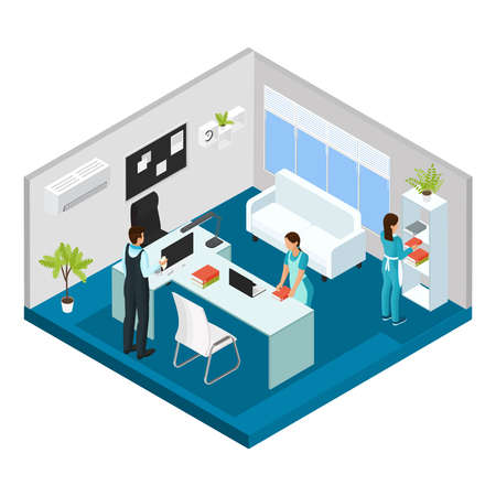 Isometric professional cleaning service concept with cleaners wearing uniform working in office isolated vector illustration