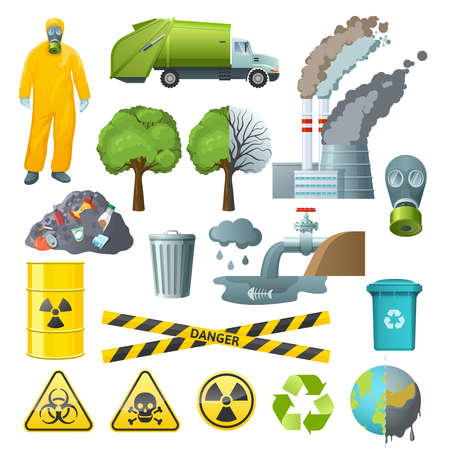 Set of isolated cartoon style decorative icons with radioactive chemical pollution infographic signs and environmental symbols vector illustration Vector Illustratie