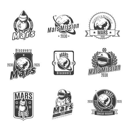 Vintage monochrome Mars research labels set with inscriptions rockets planet and astronaut isolated vector illustration
