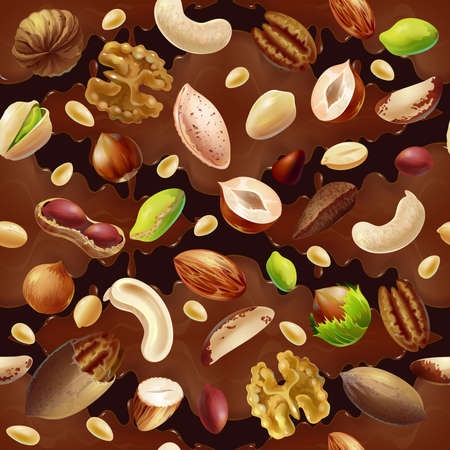 Cartoon colorful organic food seamless pattern with natural nuts on chocolate background vector illustration