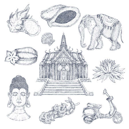 Monochrome hand drawn thailand symbols set with isolated images of thai decorations temple elephant and blockhead vector illustration