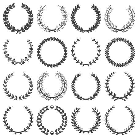 Vintage decorative floral wreathes collection with different tree branches in monochrome style isolated vector illustration