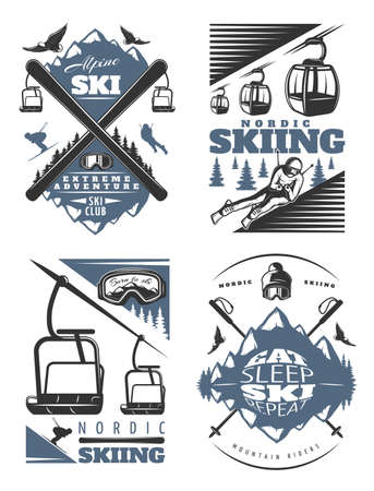 Four old style nordic skiing compositions set with mixed ropeway cabins birds skiers and mountains symbols vector illustration