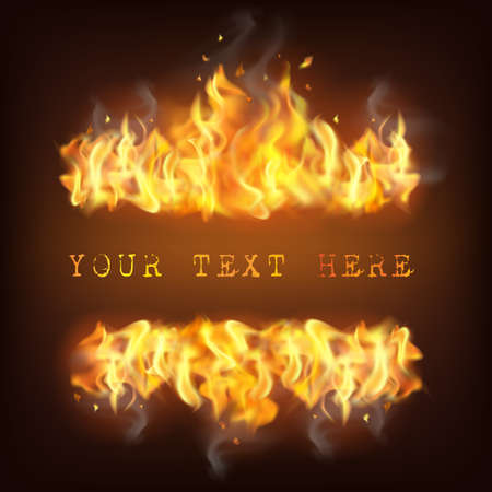 Realistic fire flame with reflection sparkles and place for text on black background vector illustration