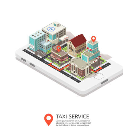 Mobile taxi service isometric design with city buildings standing at smartphone and map pointers vector illustration