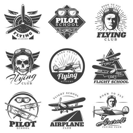Monochrome aircraft logos set for flying academy club school in vintage style isolated vector illustration