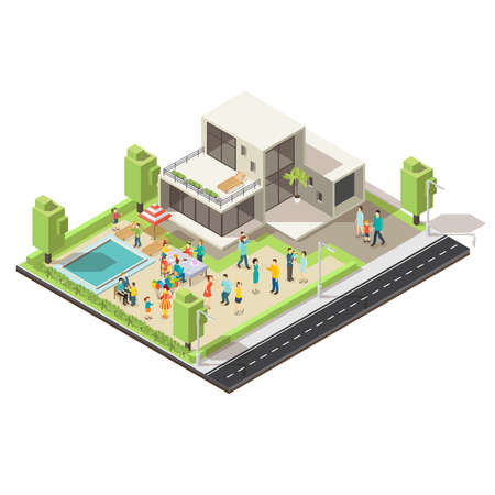 Isometric suburban villa party concept with celebrating people pool recliners green trees and road vector illustration