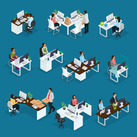 Isometric professional support workers set of different services with operators sitting at table in call center isolated vector illustration Vektoros illusztráció